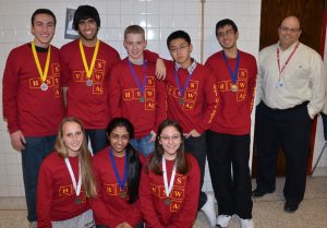 Medal winners!Left to right: Top - Dean Fulgoni, Sanjay Jonnavithula, Jake DiCicco, Max Lee, Rohan Savargaonkar, Mr. Caligiuri. Bottom - Andrea Ramsay, Sandhiya Kannan, Rose Bender.Picture by Matthew Schreiber.