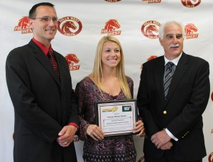 News 12 Scholar Athlete Award Winner Jennifer Cassadonte with Dr. Catapano and Mr. Pennacchio. Photo Credit: Lilly Milman
