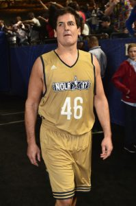 "Mark Cuban wearing his jersey with the number ""46"""