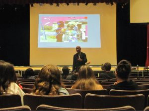 Columbia Professor, Robert O'Meally, lectures Hills West juniors about Huckleberry Finn and Blues Music.